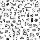 Ręka rysujący bezszwowy wzór na miłość temacie Doodle, nakreślenie Projekt dla valentine i ślubu słodkie tło Obrazy Stock