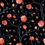 Ręka Rysujący bezszwowy wzór róże ilustracja wektor