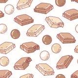 Ręka rysujący bezszwowy wzór z czekoladą Tło dla kawiarni, kuchni lub karmowego pakunku, ilustracji