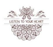 Ręka rysujący boho stylu projekt z mandala, lotosowym kwiatem, strzała i piórkami, Zdjęcia Royalty Free