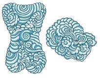 Ręka rysujący chińczyk wody i chmury tatuaż dla tylnego ciała ilustracji