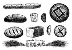 Ręka rysujący chleba set ilustracji