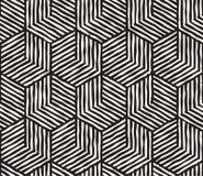 Ręka rysujący czarny i biały atramentu pasiasty bezszwowy wzór Wektorowa grunge kratownicy tekstura Monochromu muśnięcia uderzeń  royalty ilustracja