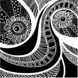 Ręka rysujący czarny i biały bezszwowy wzór Zdjęcie Stock