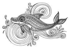 Ręka rysujący delfin z scrolling morza fala Zdjęcia Royalty Free