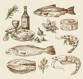 Ręka rysujący dennego jedzenia nakreślenie ilustracji