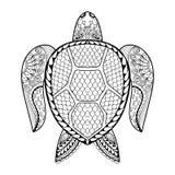 Ręka rysujący denny żółw dla dorosłych kolorystyk stron w doodle, zentan Fotografia Royalty Free