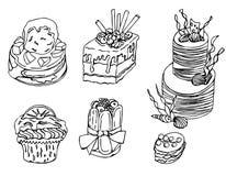 Ręka rysujący desery w wektorze royalty ilustracja