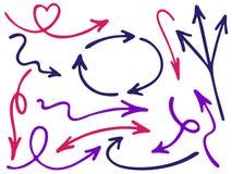 Ręka rysujący diagram ikon wektoru strzałkowaty set Lewych kierunku pointerów, cyklu i sposobu w górę puszka pióra nakreślenia st Zdjęcie Stock