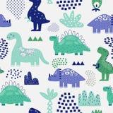 Ręka Rysujący dinosaura Bezszwowy wzór Kreatywnie Dziecięcy tło z Ślicznym Dino dla tkaniny, tkanina ilustracja wektor