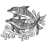 Ręka rysujący doodle delfiny z scrolling morzem machają Zdjęcia Royalty Free
