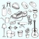 Ręka rysujący doodle domowych urządzeń ikony Obraz Stock