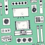 Ręka rysujący doodle domu kinowy bezszwowy wzór Fotografia Royalty Free