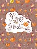 Ręka rysujący doodle Halloween wektorowy kartka z pozdrowieniami z czarownicą, Zdjęcie Stock