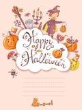 Ręka rysujący doodle Halloween wektorowy kartka z pozdrowieniami z czarownicą, Zdjęcia Royalty Free