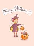 Ręka rysujący doodle Halloween wektorowy kartka z pozdrowieniami z czarownicą, Fotografia Royalty Free