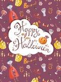Ręka rysujący doodle Halloween wektorowy kartka z pozdrowieniami z vampir Obraz Stock