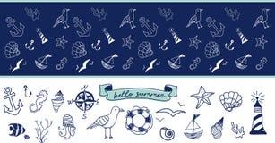 Ręka rysujący doodle Set nautyczna ilustracja oceanu życie, owoce morza, podwodny świat Obrazy Stock