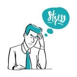 Ręka rysujący doodle styl biznesmen stresuje się, biznes Fotografia Stock