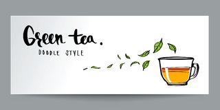 Ręka rysujący doodle styl, zielona herbata, kaligrafia, plakat i półdupki, Zdjęcie Royalty Free