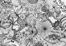 Ręka rysujący doodle tła wzór z mnogimi różnymi natura elementami ilustracji