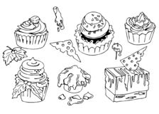 Ręka rysujący doodle torty i cukierki również zwrócić corel ilustracji wektora ilustracji