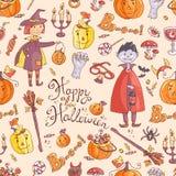 Ręka rysujący doodle wektorowy bezszwowy wzór z Halloween elementem Fotografia Royalty Free