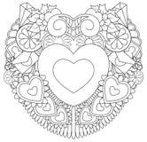 Ręka rysujący doodles valentines szczęśliwy dzień z symbolu i elementów tematem tworzy serce ilustracji