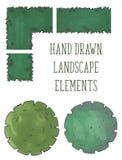 Ręka rysujący drzewo wierzchołek, drzewa i krzaki, wektor ilustracja wektor