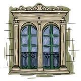 Ręka rysujący dwoisty okno, zieleni rama Rocznik architektury artystyczny okno Obrazy Stock