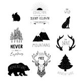 Ręka rysujący dzicy projektów elementy Lasowe sylwetki Zdjęcia Royalty Free