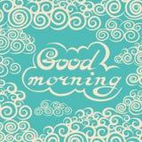 Ręka rysujący dzień dobry pisze list szorstką typografię ilustracji