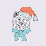 Ręka rysujący dziki wilk Zdjęcie Stock