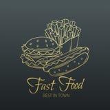 Ręka rysujący fast food w starym stylu Fotografia Stock