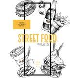 Ręka rysujący fasta food sztandar Uliczna karmowa kreatywnie ulotka Hamburger, soda, bagel, francuscy dłoniaki, kawa i pączek, ba Zdjęcie Royalty Free