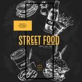 Ręka rysujący fasta food sztandar Uliczna karmowa kreatywnie ulotka Hamburger, soda, bagel, francuscy dłoniaki, kawa i pączek, ba Zdjęcia Stock