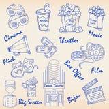Ręka Rysujący Filmu Ikony Set Obraz Stock