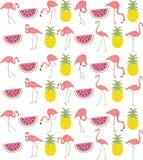 Ręka rysujący flaming, arbuz & ananasowy powtórka wzór, Zdjęcie Stock