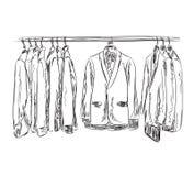 Ręka rysujący garderoby nakreślenie Obsługuje dresscode kostium Obraz Royalty Free