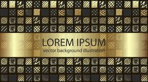 Ręka rysujący gradientowi złociści kolor wzorzystości kwadraty ilustracji