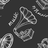 Ręka rysujący gramofon ilustracja wektor