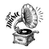 Ręka rysujący gramofon, nakreślenie Muzyka, nostalgia symbol Rocznika wektoru ilustracja ilustracji
