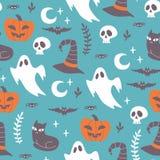 Ręka rysujący Halloweenowy bezszwowy wzór Obraz Royalty Free