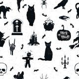 Ręka rysujący Halloweenowy bezszwowy wzór Zdjęcia Stock