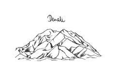 Ręka rysujący halny szczyt ilustracji