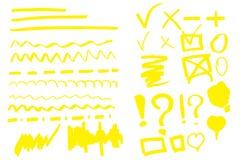 Ręka rysujący highlighter set royalty ilustracja