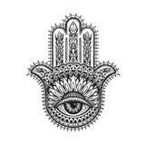 Ręka rysujący indyjski hamsa z etnicznymi ornamentami również zwrócić corel ilustracji wektora ilustracji
