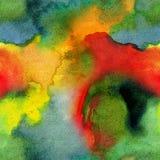 Ręka rysujący jaskrawy barwiący akwarela abstrakt plami bezszwowego wzór royalty ilustracja