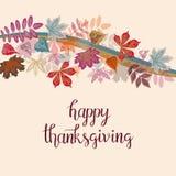 Ręka rysujący jesieni dziękczynienia typografii Szczęśliwy plakat z ślicznymi kolorowymi liśćmi w mieszkanie stylu ilustracji