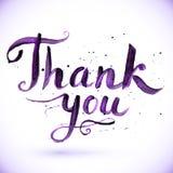 Ręka rysujący kaligraficzny projekt dla znaka Dziękuje ciebie ilustracji